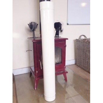 1000mm Ivory Cream enamel flue pipe.