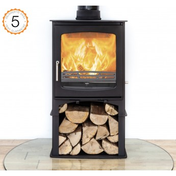Ecosy+ Purefire Curve 10kw With Stand Contemporary Woodburning Stoves Multi Fuel, 5 YEAR GUARANTEE