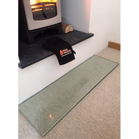 Hearth Extension 12mm Glass Hearth 1000mm x 300mm - For Woodburning Stove