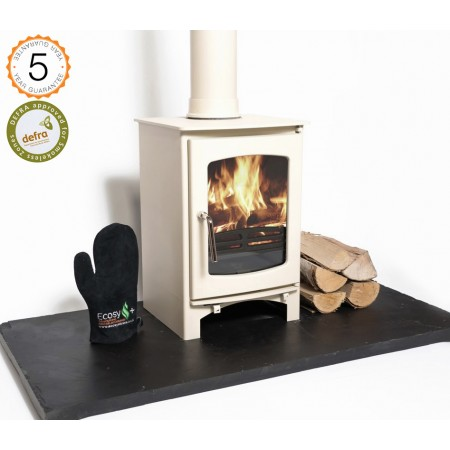 Almond DEFRA APPROVED 85% efficient, Ecosy+  Purefire Curve 5kw  Woodburning  5 YEAR GUARANTEE -