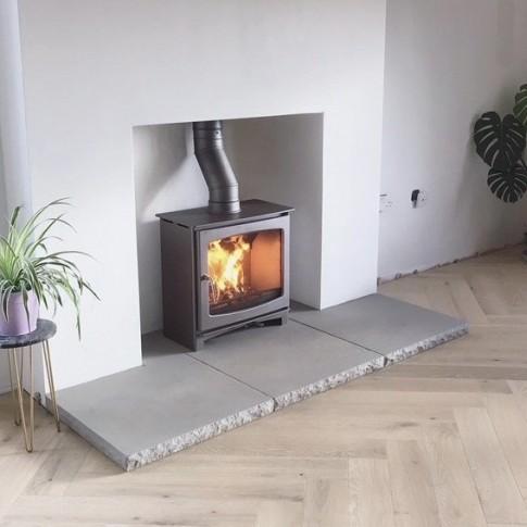 "Custom ""Burnt Grey""  Ecosy+ Panoramic Defra Approved 5kw Eco Design Ready (2022) - Slimline  Woodburning Stove - 5 Year Guarantee"