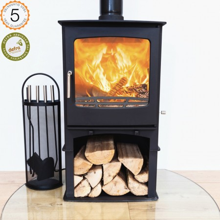 Defra Approved Ecosy+ Purefire 10kw Curve  Woodburning Stove With Stand 5 YEAR GUARANTEE - (