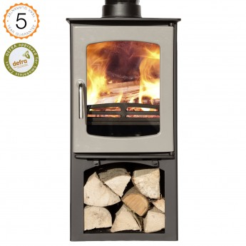 DEFRA APPROVED 85% efficient Ecosy+ Purefire Curve 5kw with stand + grey enamel door. Multi-fuel wood burning stove. 5 YEAR GUARANTEE