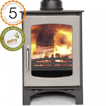 DEFRA 85% efficient, Ecosy+  Purefire Curve 5kw  Woodburning Stoves Multi Fuel.  5 YEAR GUARANTEE - French Grey Enamel Door