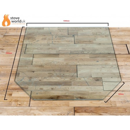 *OFFER* 12mm Hexagon / Cut Corner Glass Hearth/Plinth Floor Plate 1000mm x 1000mm