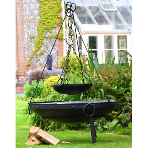 """Raw"" XL 1000mm Diameter 50KG Indian Fire Bowl And Complete Cooking Set With Tri-Pod Kit"