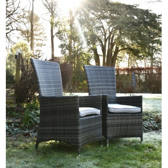 2 x High Backed Mixed Grey Rattan Outdoor Dining Chair Set