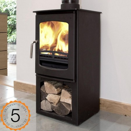 85% efficient, Ecosy+ 5kw Purefire  CURVE with Stand Contemporary  Woodburning Stoves Multi Fuel.  5 YEAR GUARANTEE