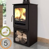 DEFRA APPROVED 85% efficient Ecosy+ Purefire Curve 5kw WITH STAND. Multi-fuel Contemporary Wood Burning Stove. 5 YEAR GUARANTEE