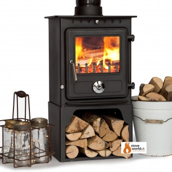 8kw Coseyfire Elegance CLEAN BURN Contemporary Modern Woodburning  Stove WITH LOG STORE