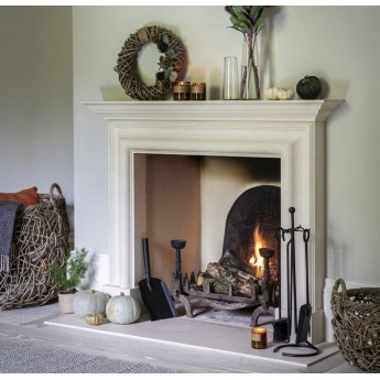 Aegean Limestone Fireplace Surround / Mantle With Granite Hearth Option