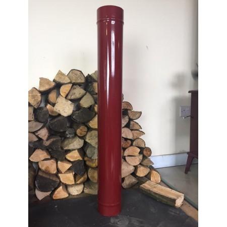 1000mm Red enamel flue pipe.