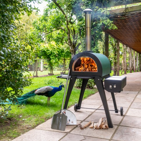 Green Machine, Outdoor Stainless Steel Pizza Oven With Stone Base + Side BBQ