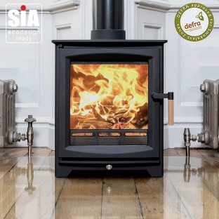 Ecosy+ Hampton 5 Defra Approved -  Ecodesign Ready (2022) - 5kw Wood Burning Stove - 7 Year Guarantee - Black