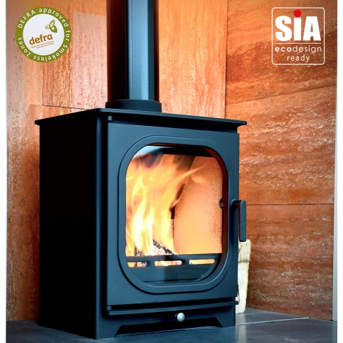 Ecosy+ Hampton 5 RD1 Defra Approved -  Ecodesign Ready (2022) - 5kw Wood Burning Stove - 7 Year Guarantee - Black