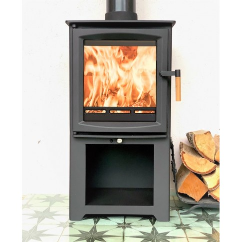 Hampton 5 Defra Approved With Stand -  Ecodesign Ready (2022) - 5kw Wood Burning Stove - 7 Year Guarantee - Black