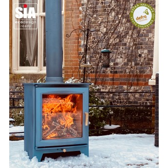 "Ecosy+ Hampton 5 XL Defra Approved - 5kw Wood Burning Stove, 7 Year Guarantee, Ecodesign Ready ""Cool Blue"""