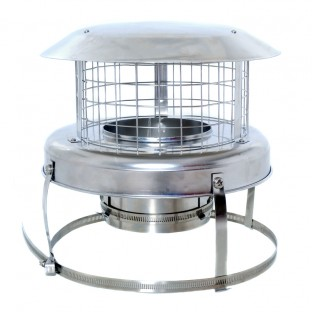 """5"""" Stainless Steel Chimney Pot Hanger Cowl - Colt (Connects To Chimney Liner)"""