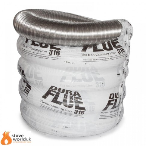 "316 Grade Dura Flue Flexible Stove Liner - 6"" (150mm) 15 YEAR GUARANTEE (FROM £108.75)"