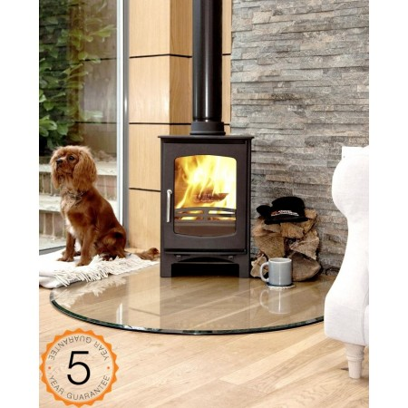 85% Efficient Purefire  Ecosy+ 5kw Curve Contemporary Woodburning Stoves Multi Fuel. 5 YEAR GUARANTEE