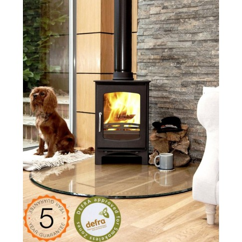 DEFRA APPROVED 85% efficient, Ecosy+  Purefire Curve 5kw  Contemporary Woodburning Stoves Multi Fuel. 5 YEAR GUARANTEE
