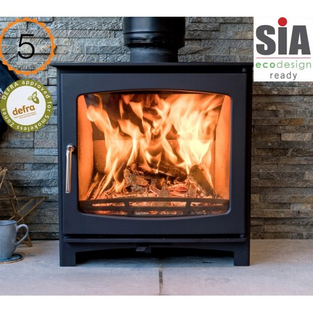 Defra Approved 5kw Eco Design Ready (2022) - Slimline Ecosy+ Panoramic Woodburning Stove - 5 Year Guarantee