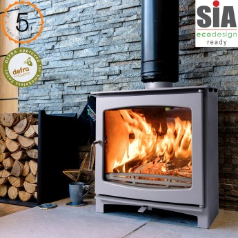 Custom Grey Defra Approved 5kw Eco Design Ready (2022) - Slimline Ecosy+ Panoramic Woodburning Stove - 5 Year Guarantee