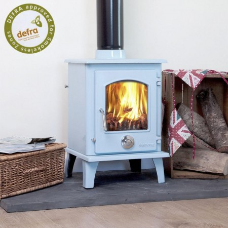 Duck Egg Blue Enamel Coseyfire Petit Multi-Fuel Woodburning Stove 5kw,  DEFRA APPROVED