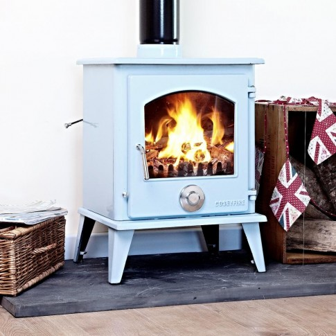 A+ Coseyfire Petit XL BLUE ENAMEL 8kw Multi-Fuel Woodburning Stove, WITH SECONDARY BURN SYSTEM