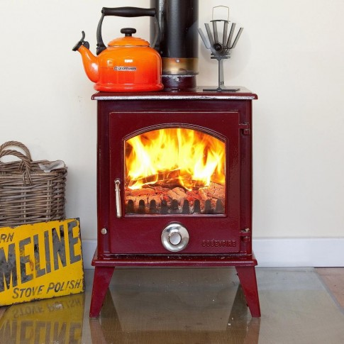 A+ Coseyfire Petit XL RED ENAMEL 8kw Multi-Fuel Woodburning Stove, WITH SECONDARY BURN SYSTEM