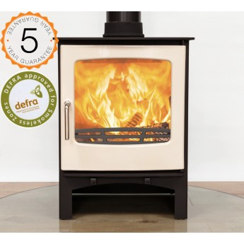 Defra Approved Ecosy+ Purefire 7-8kw Curve Woodburning Stove 5 Year Guarantee - Ivory Enamel Door