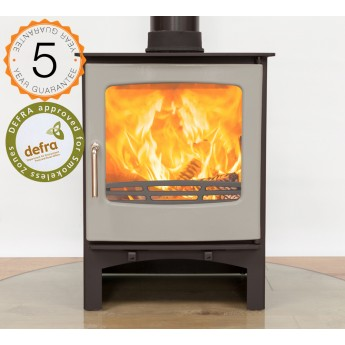 Defra Approved Ecosy+ Purefire 7-8kw Curve Woodburning Stove 5 Year Guarantee - Grey Enamel Door