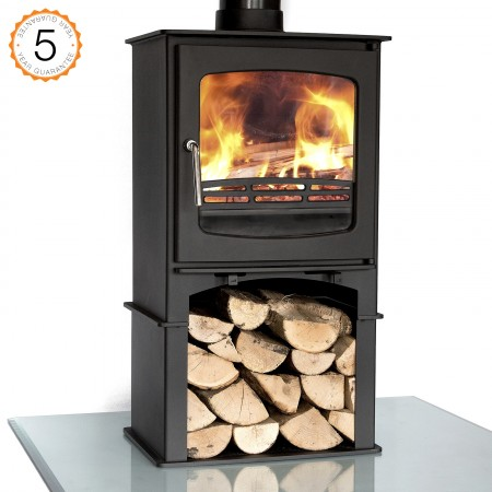 Purefire 7-8kw Curve With Stand Multi-Fuel Woodburning Stove Stoves Log Burner - 5 Year Guarantee