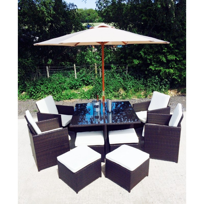 Manhattan Brown 8 Seater Outdoor Rattan Dining Cube Set   Aluminium Frame    Free Cover ... Part 87