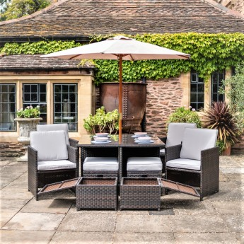 Brown Manhattan 10 Piece Aluminium Frame Rattan Dining Set