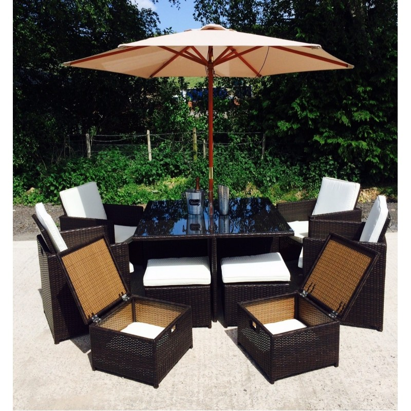 Manhattan Brown 8 Seater Outdoor Rattan Dining Cube Set   Aluminium Frame    Free Cover ... Part 77