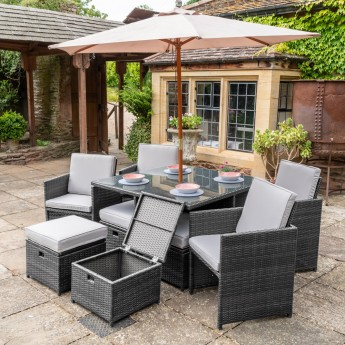 Grey Manhattan 10 Piece Aluminium Frame Rattan Dining Set