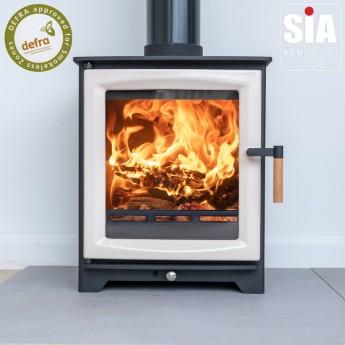 Ivory Enamel Door Ecosy+ Hampton 5 - Defra Approved -  Ecodesign Ready (2022) - 5kw Wood Burning Stove - 7 Year Guarantee - Black