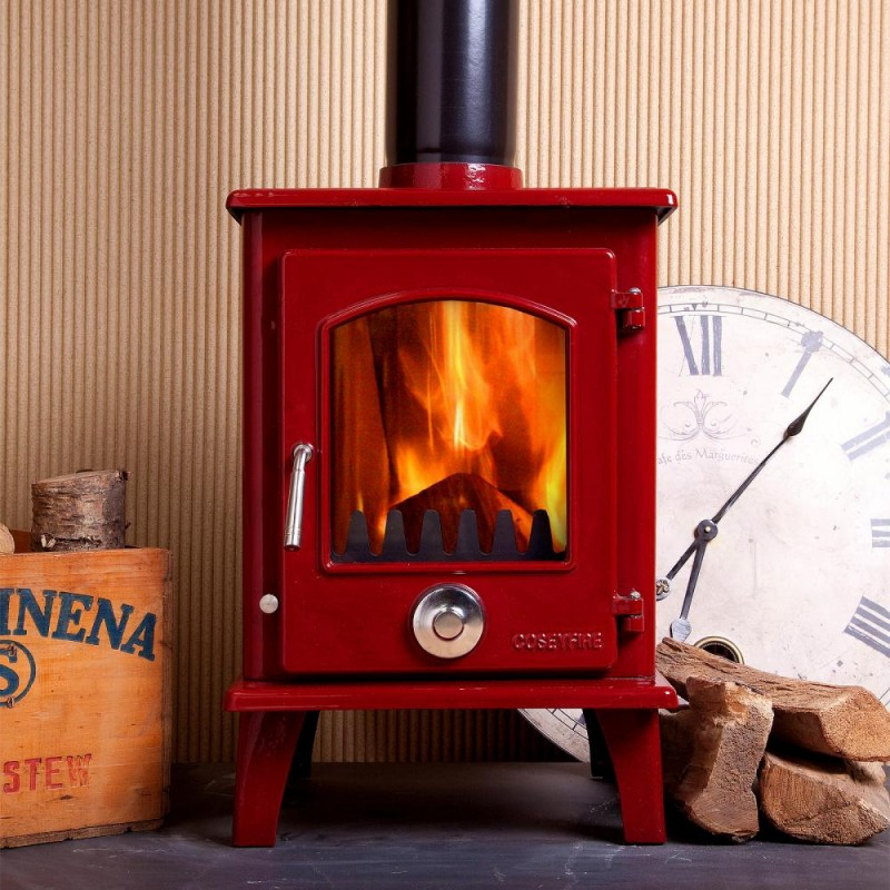 ... DEFRA APPROVED A+ Wine Red Enamel Coseyfire Petit Multi-Fuel  Woodburning Stove 5kw, WITH ... - DEFRA APPRVED A+ Wine Red Enamel Coseyfire Petit Multi-Fuel