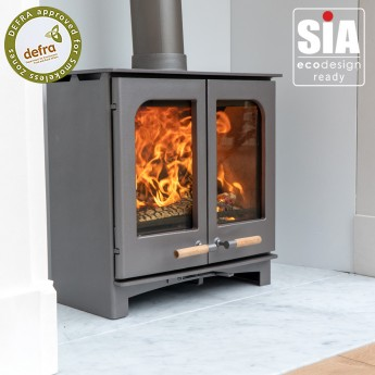 Ecosy+ Twin Door Panoramic Defra Approved 5kw Eco Design Ready (2022) -  Woodburning Stove - 5 Year Guarantee  - Custom Grey