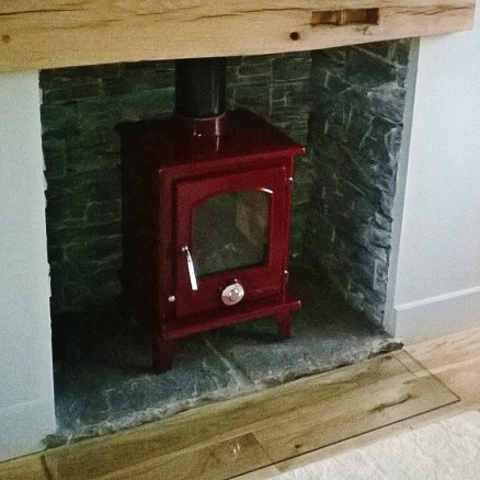 Red Enamel Coseyfire Petit Multi-Fuel Woodburning Stove 5kw