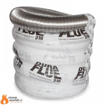 """316 Grade Dura Flue Flexible Stove Liner - 5"""" (125mm) 15 YEAR GUARANTEE (FROM £103.75)"""