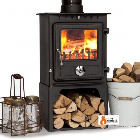 5kw Coseyfire Elegance CLEAN BURN Contemporary Modern Woodburning Stove WITH LOG STORE