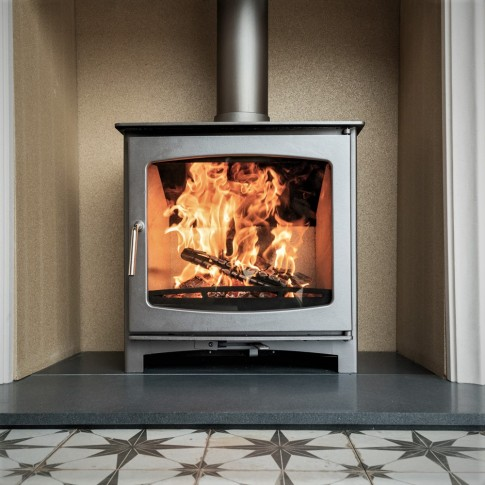 """ LIT ONCE - USED "" Custom ""Burnt Grey"" Defra Approved 5kw Eco Design Ready (2022) - Slimline Ecosy+ Panoramic Woodburning Stove - 5 Year Guarantee"
