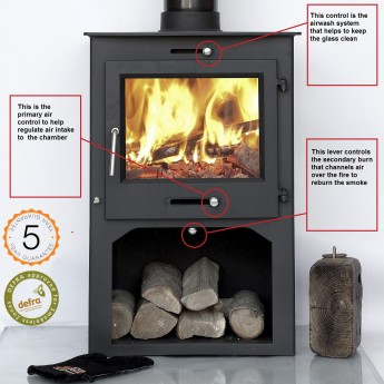 DEFRA APPROVED 12kw Ottawa + Clean Burn WITH STAND Contemporary  Woodburning Stoves Multi Fuel  5 YEAR GUARANTEE
