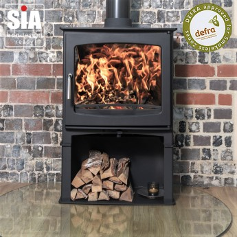 Ecosy+ Panoramic  Defra Approved 5kw Eco Design Ready (2022) - Slimline  Woodburning Stove - With Stand