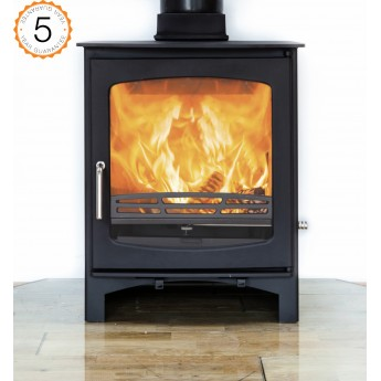 Ecosy+ Purefire Curve 10kw Contemporary Woodburning Stoves Multi Fuel, 5 YEAR GUARANTEE