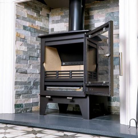 Grey Slate Fireplace Chamber Boards On Quartz - 950mm High