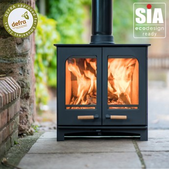 Ecosy+ Panoramic Twin Door Defra Approved 5kw Eco Design Ready (2022) -  Woodburning Stove - 5 Year Guarantee