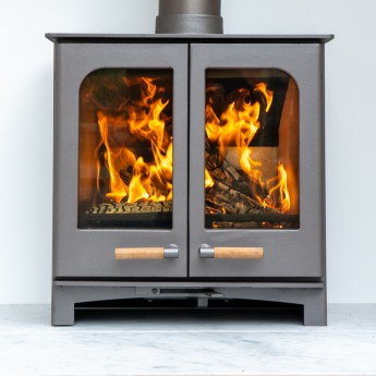 "Ecosy+ Twin Door Panoramic Defra Approved 5kw Eco Design Ready (2022) -  Woodburning Stove - 5 Year Guarantee  - Custom ""Burnt Grey"""